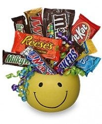 gift basket filled with candy bars