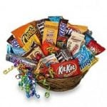 gift basket filled with candy bars and snacks